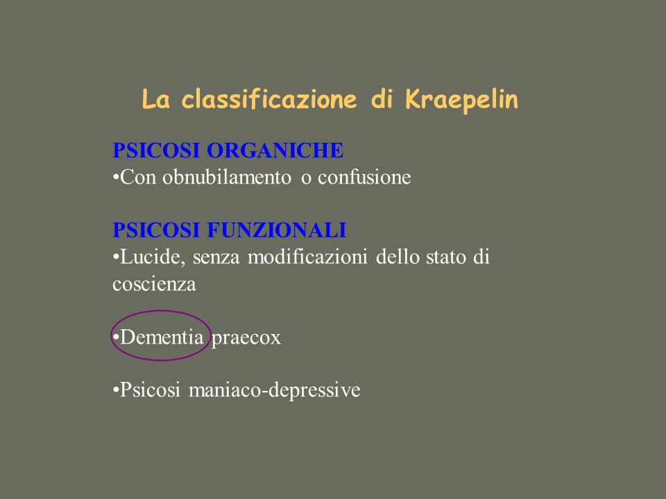La classificazione di Kraepelin