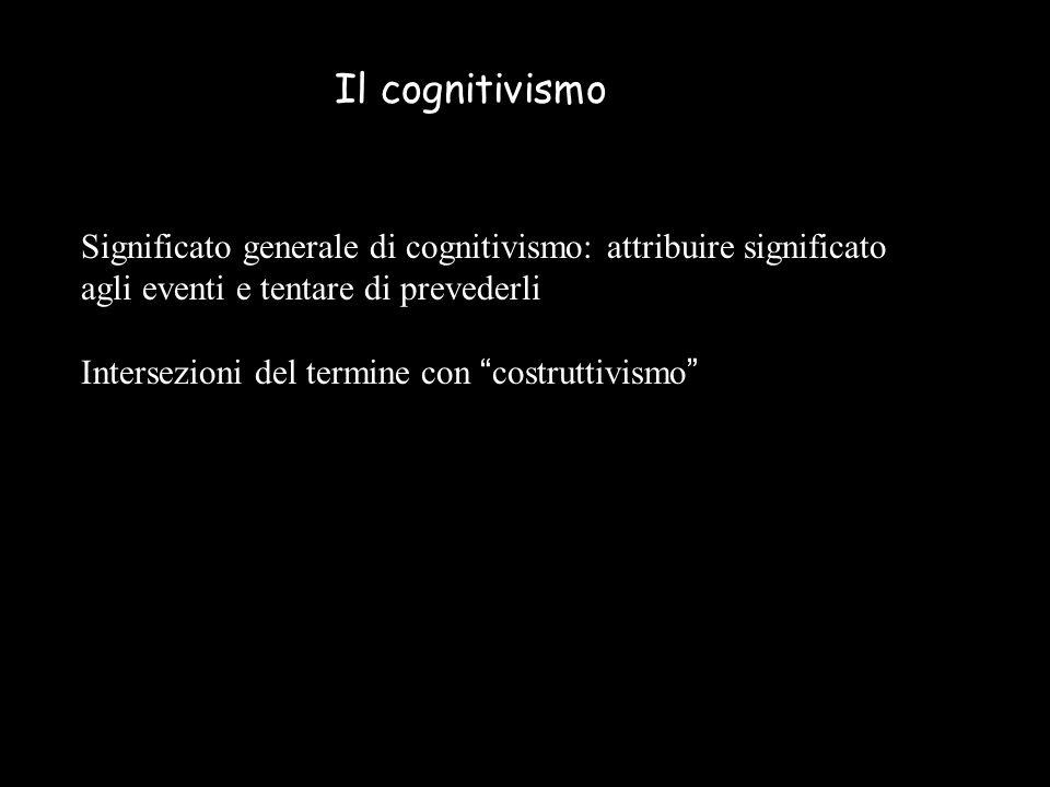 Il cognitivismo Significato generale di cognitivismo: attribuire significato agli eventi e tentare di prevederli.