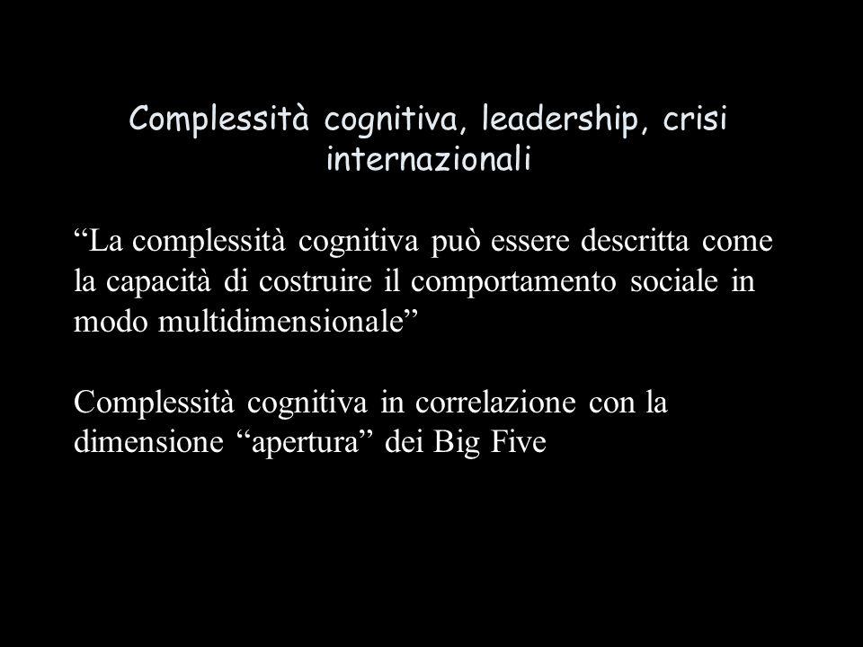 Complessità cognitiva, leadership, crisi internazionali