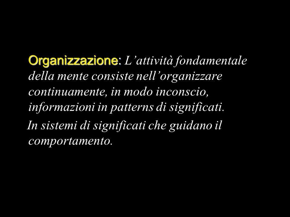 Organizzazione: L'attività fondamentale della mente consiste nell'organizzare continuamente, in modo inconscio, informazioni in patterns di significati.
