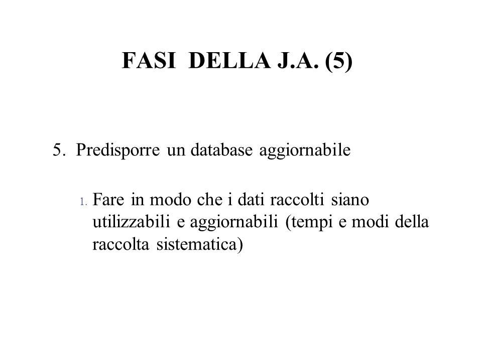 FASI DELLA J.A. (5) 5. Predisporre un database aggiornabile