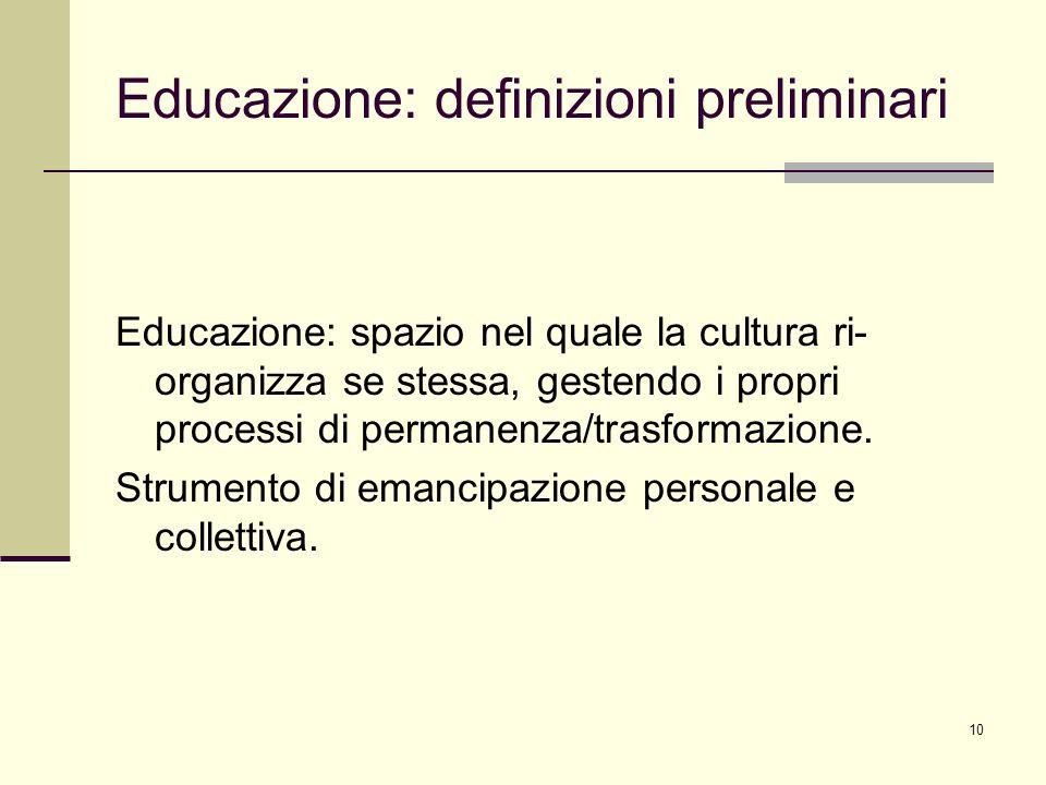 Educazione: definizioni preliminari