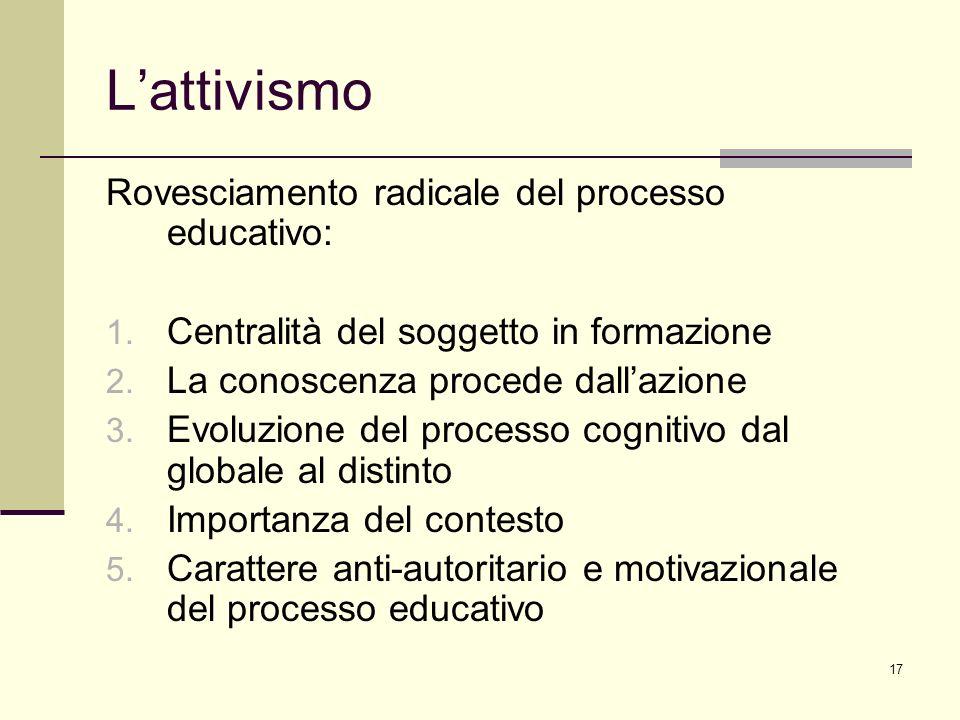 L'attivismo Rovesciamento radicale del processo educativo:
