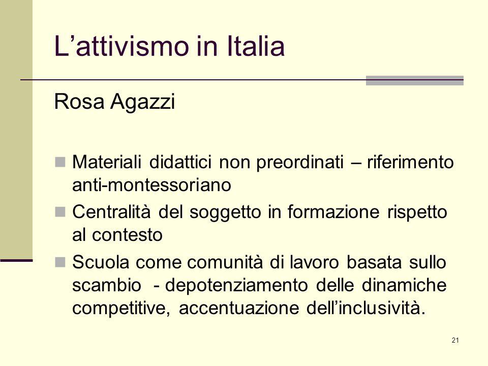 L'attivismo in Italia Rosa Agazzi
