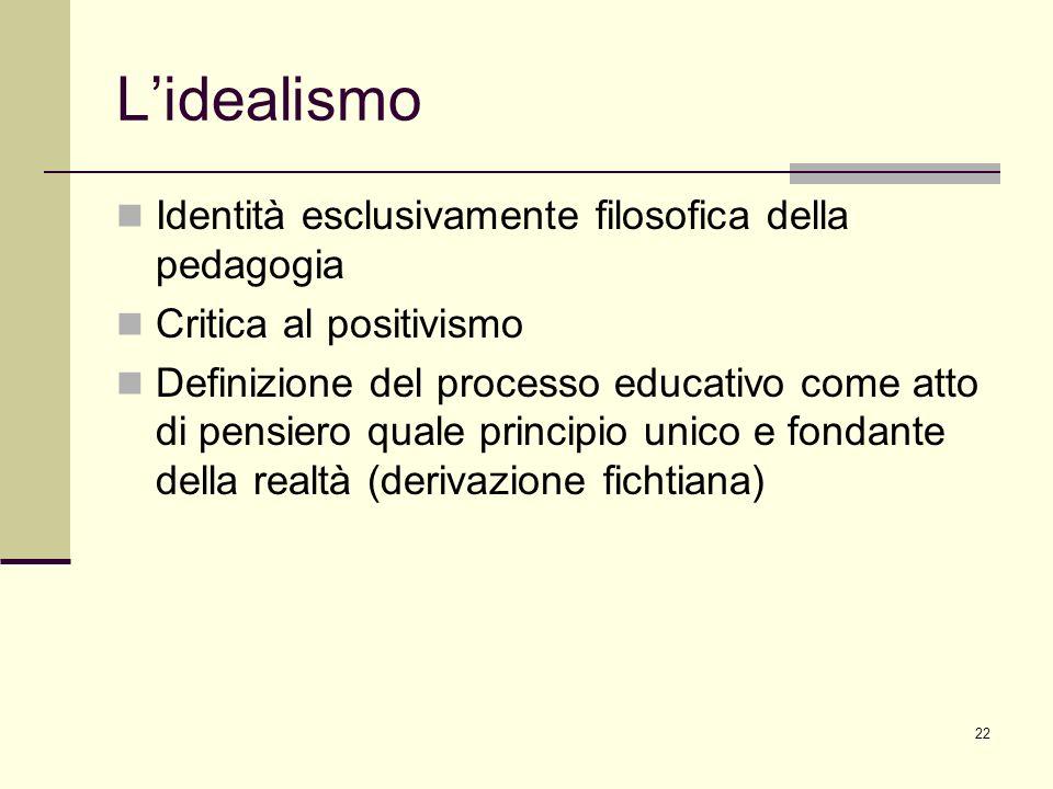 L'idealismo Identità esclusivamente filosofica della pedagogia