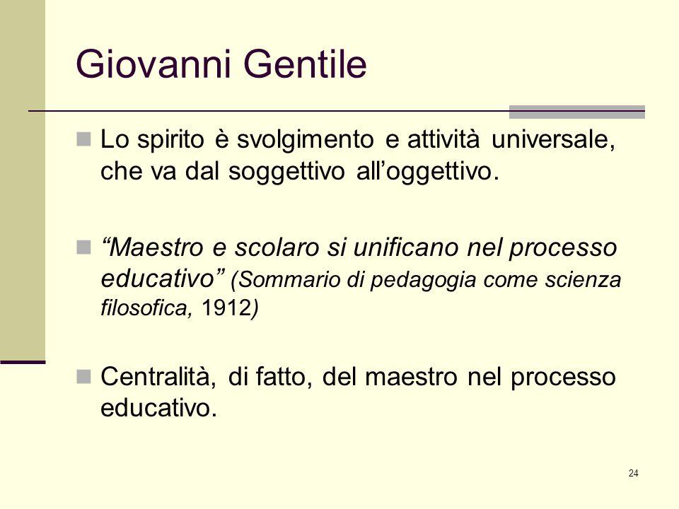 Giovanni Gentile Lo spirito è svolgimento e attività universale, che va dal soggettivo all'oggettivo.