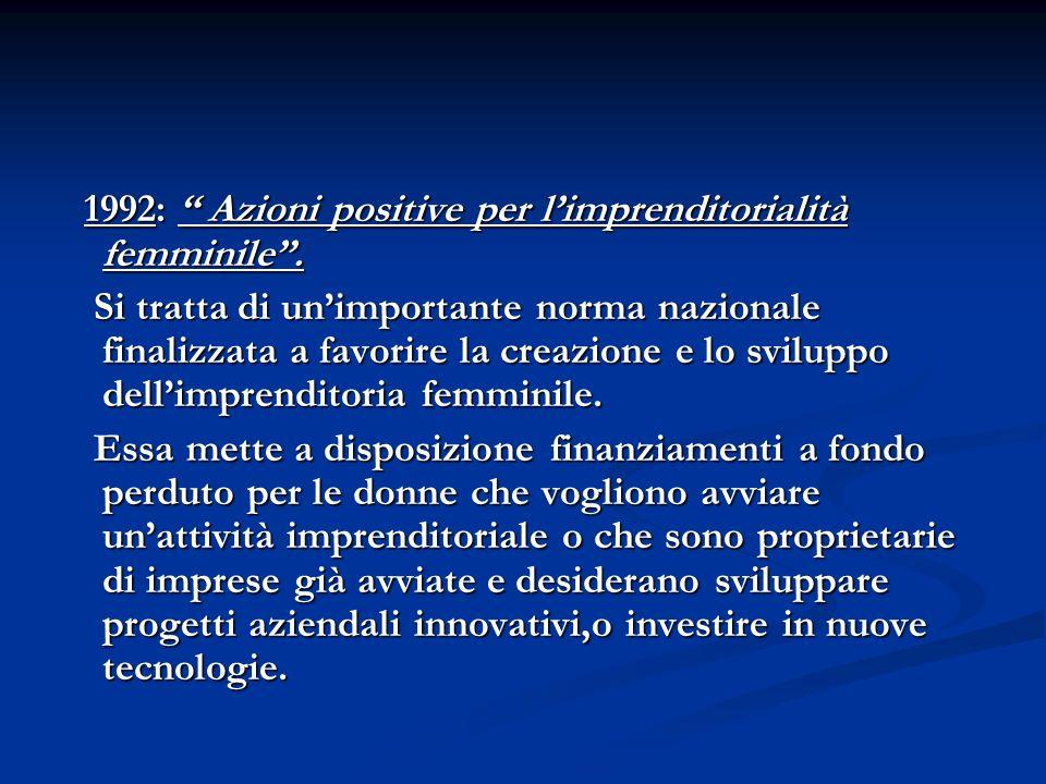 1992: Azioni positive per l'imprenditorialità femminile .