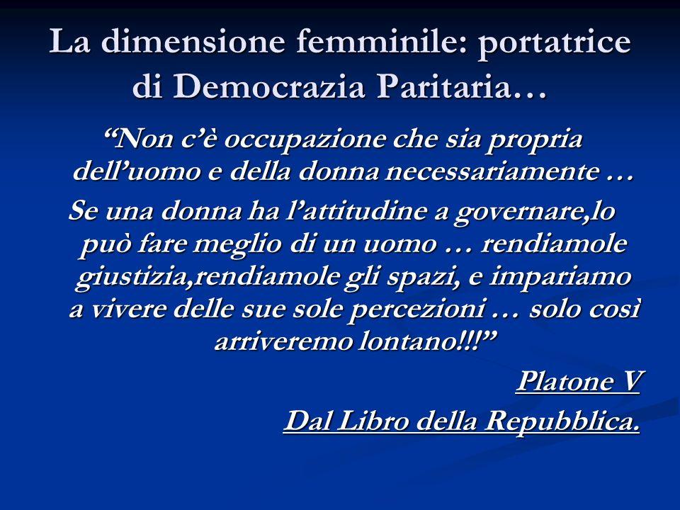 La dimensione femminile: portatrice di Democrazia Paritaria…