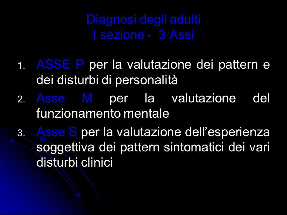 Diagnosi degli adulti I sezione - 3 Assi