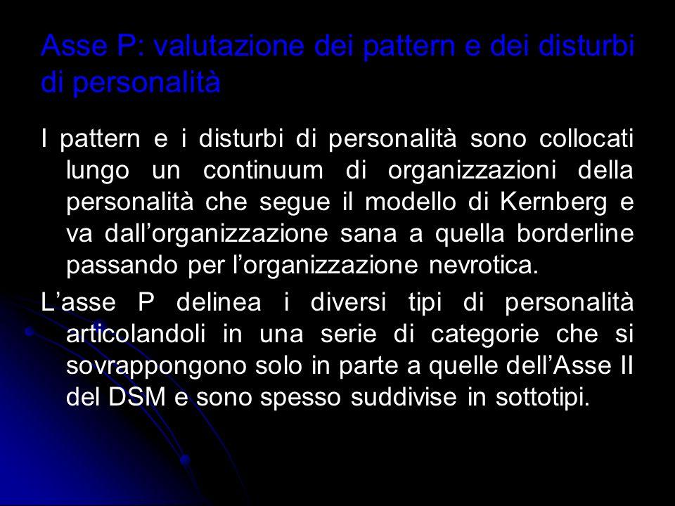 Asse P: valutazione dei pattern e dei disturbi di personalità