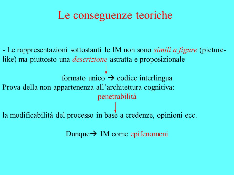 Le conseguenze teoriche