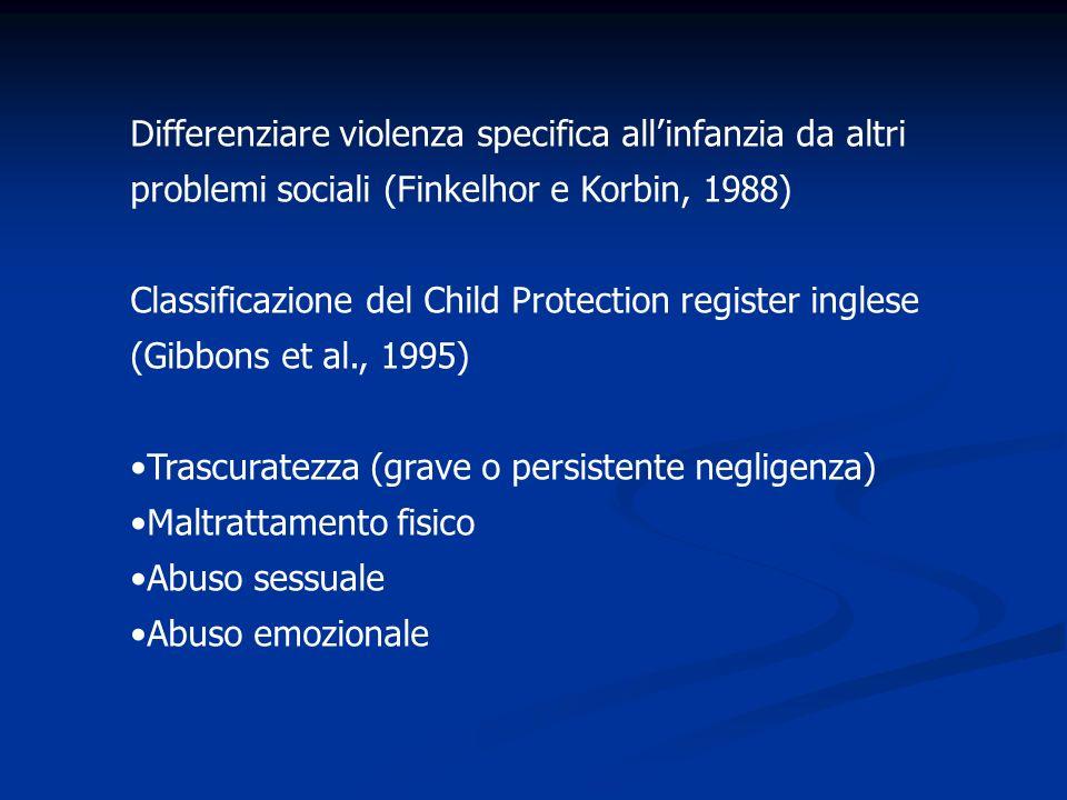 Differenziare violenza specifica all'infanzia da altri problemi sociali (Finkelhor e Korbin, 1988)