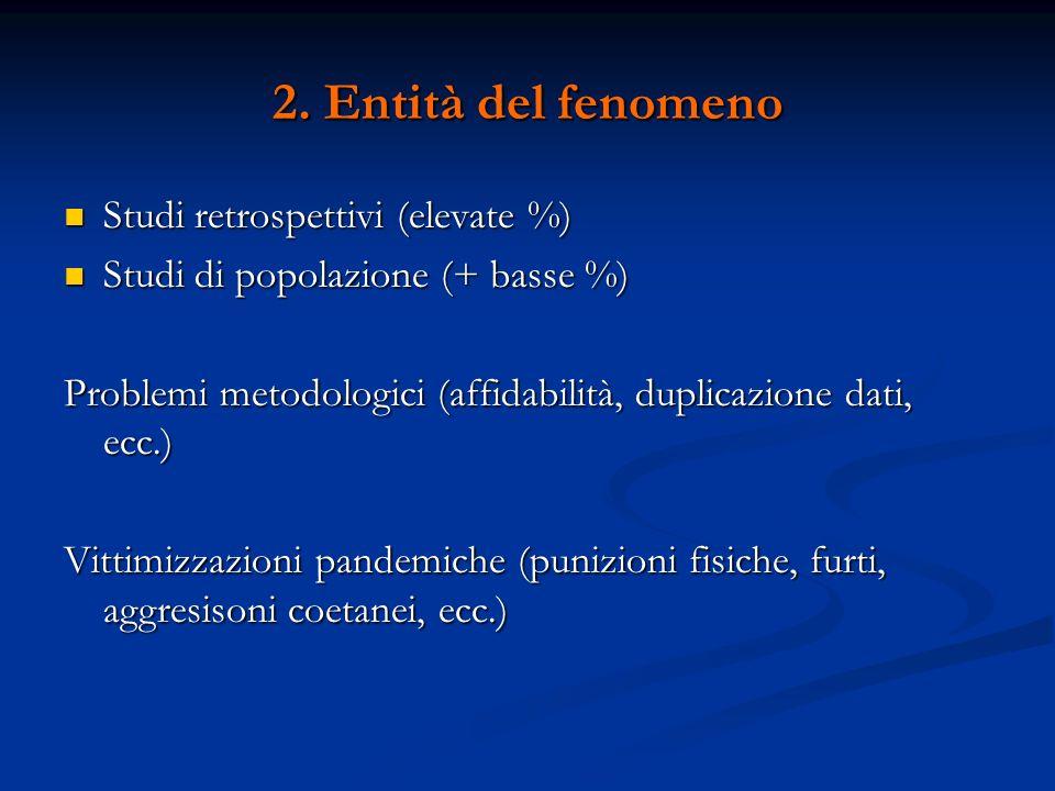 2. Entità del fenomeno Studi retrospettivi (elevate %)