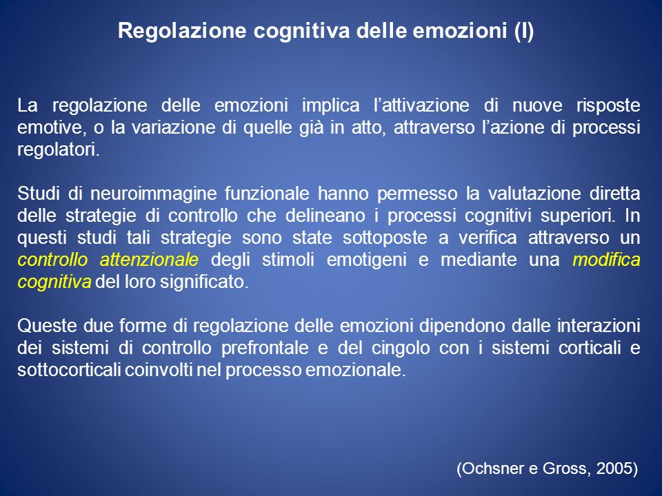 Regolazione cognitiva delle emozioni (I)