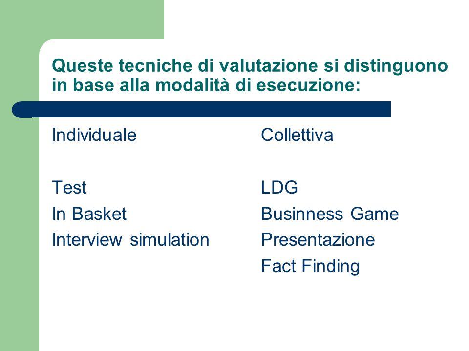 Queste tecniche di valutazione si distinguono in base alla modalità di esecuzione: