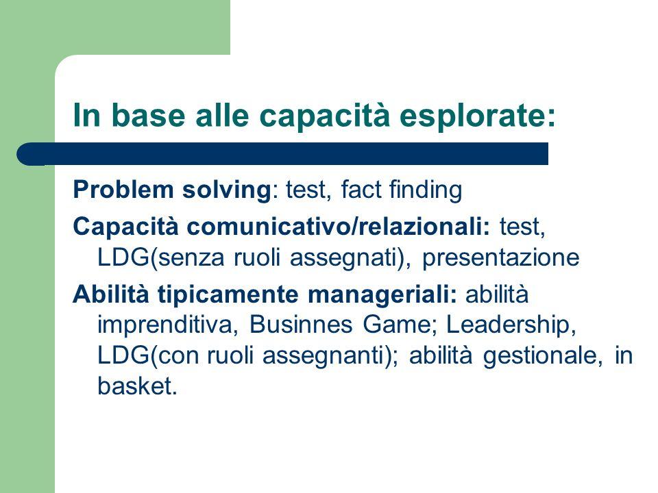 In base alle capacità esplorate: