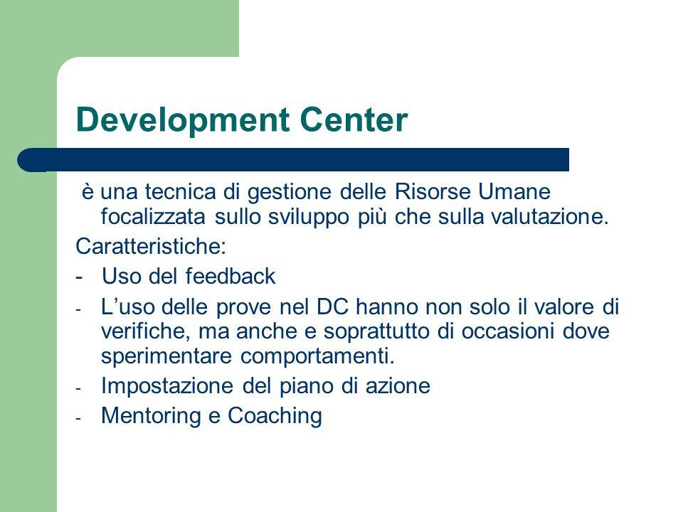 Development Center è una tecnica di gestione delle Risorse Umane focalizzata sullo sviluppo più che sulla valutazione.