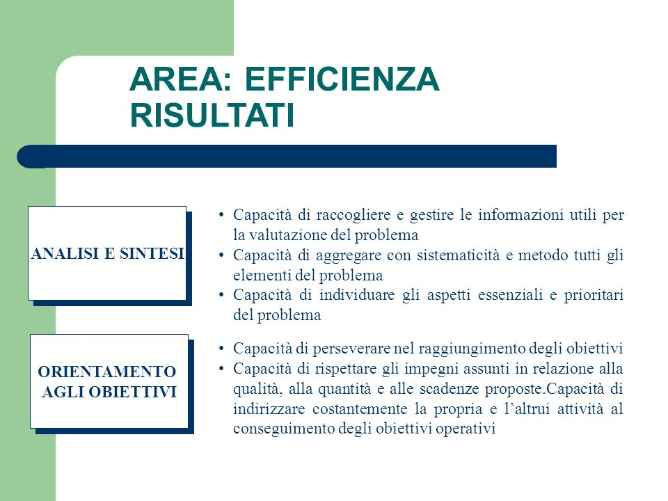 AREA: EFFICIENZA RISULTATI