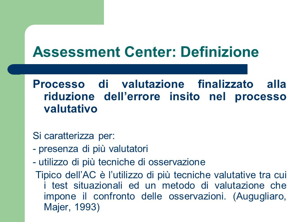 Assessment Center: Definizione