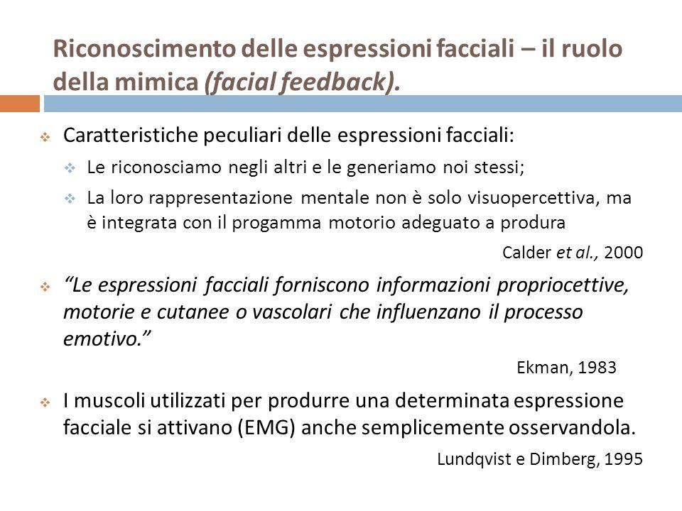 Riconoscimento delle espressioni facciali – il ruolo della mimica (facial feedback).