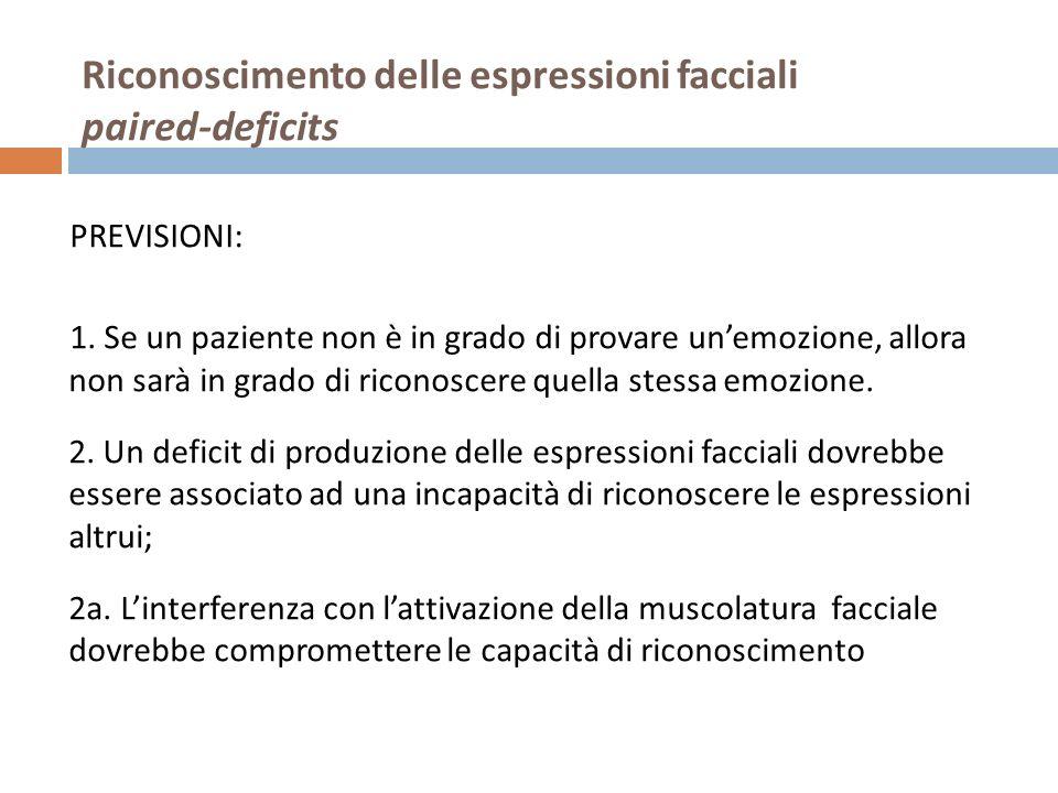 Riconoscimento delle espressioni facciali paired-deficits