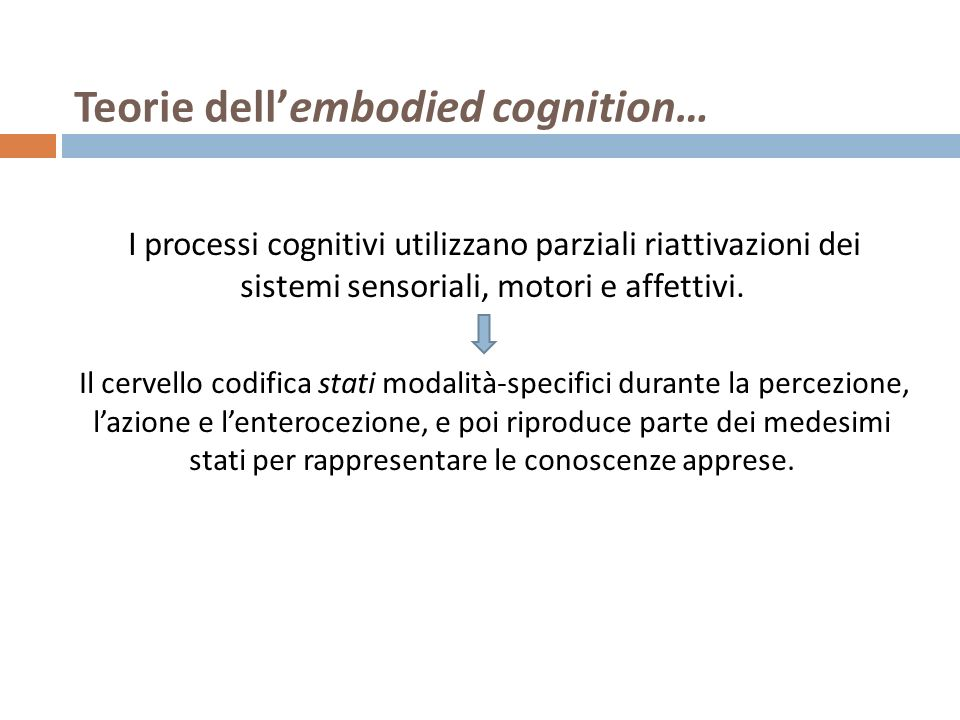 Teorie dell'embodied cognition…