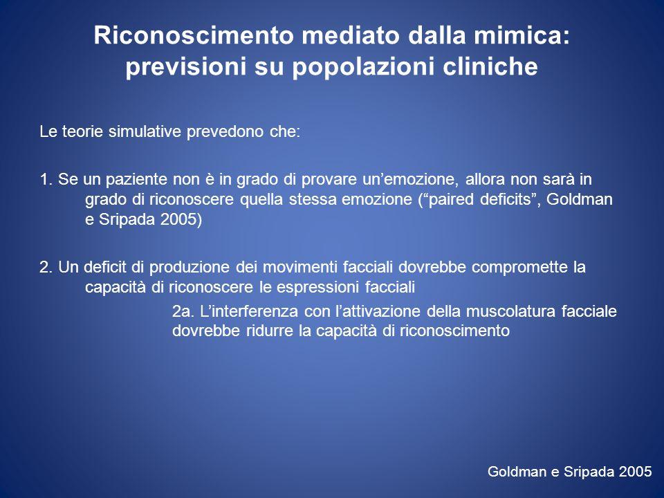 Riconoscimento mediato dalla mimica: previsioni su popolazioni cliniche