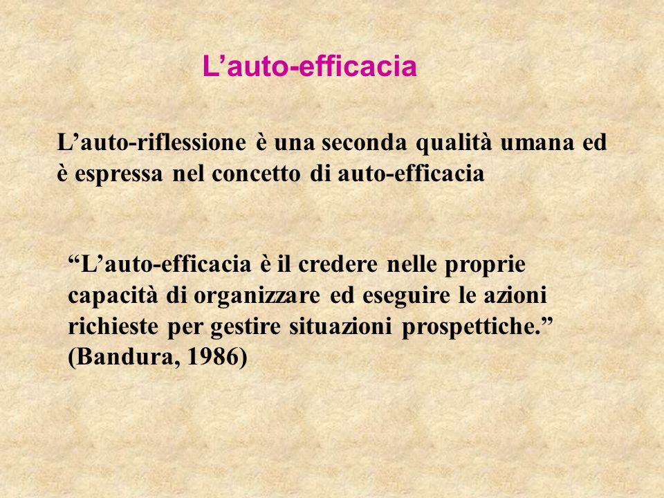 L'auto-efficacia L'auto-riflessione è una seconda qualità umana ed è espressa nel concetto di auto-efficacia.