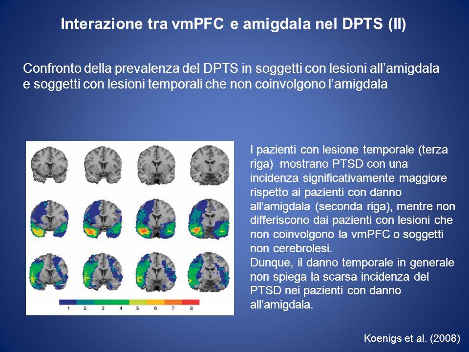Interazione tra vmPFC e amigdala nel DPTS (II)