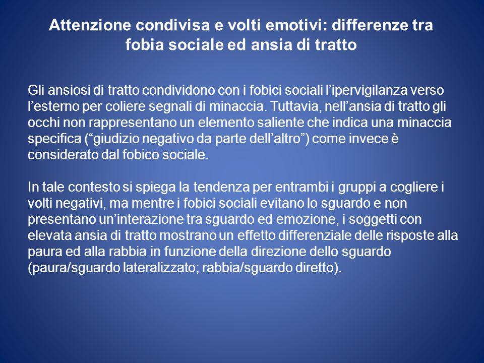Attenzione condivisa e volti emotivi: differenze tra fobia sociale ed ansia di tratto