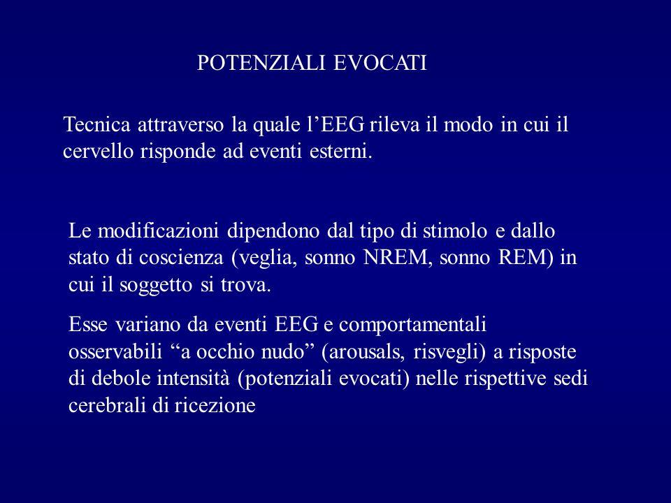 POTENZIALI EVOCATI Tecnica attraverso la quale l'EEG rileva il modo in cui il cervello risponde ad eventi esterni.