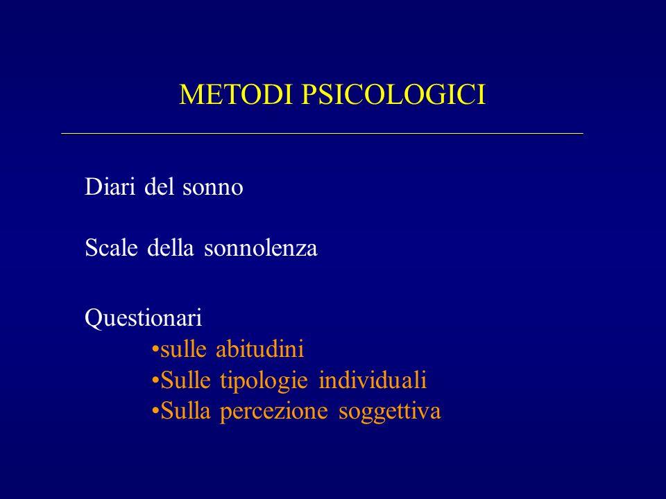 METODI PSICOLOGICI Diari del sonno Scale della sonnolenza Questionari