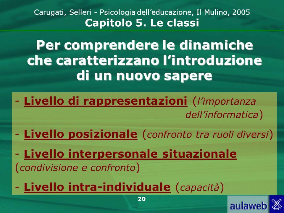 Carugati, Selleri - Psicologia dell'educazione, Il Mulino, 2005 Capitolo 5. Le classi