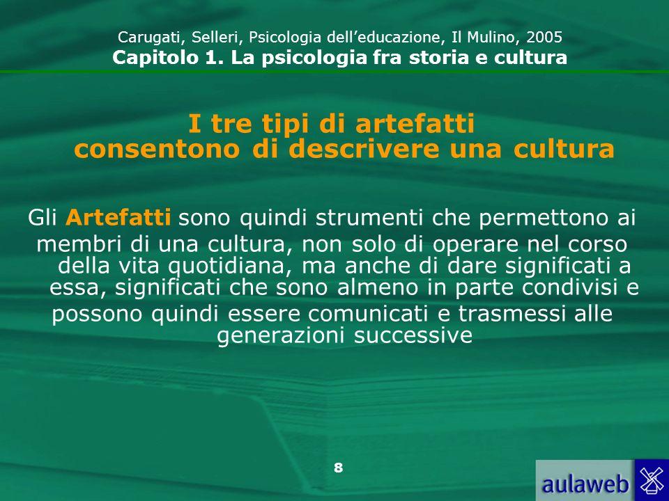 I tre tipi di artefatti consentono di descrivere una cultura