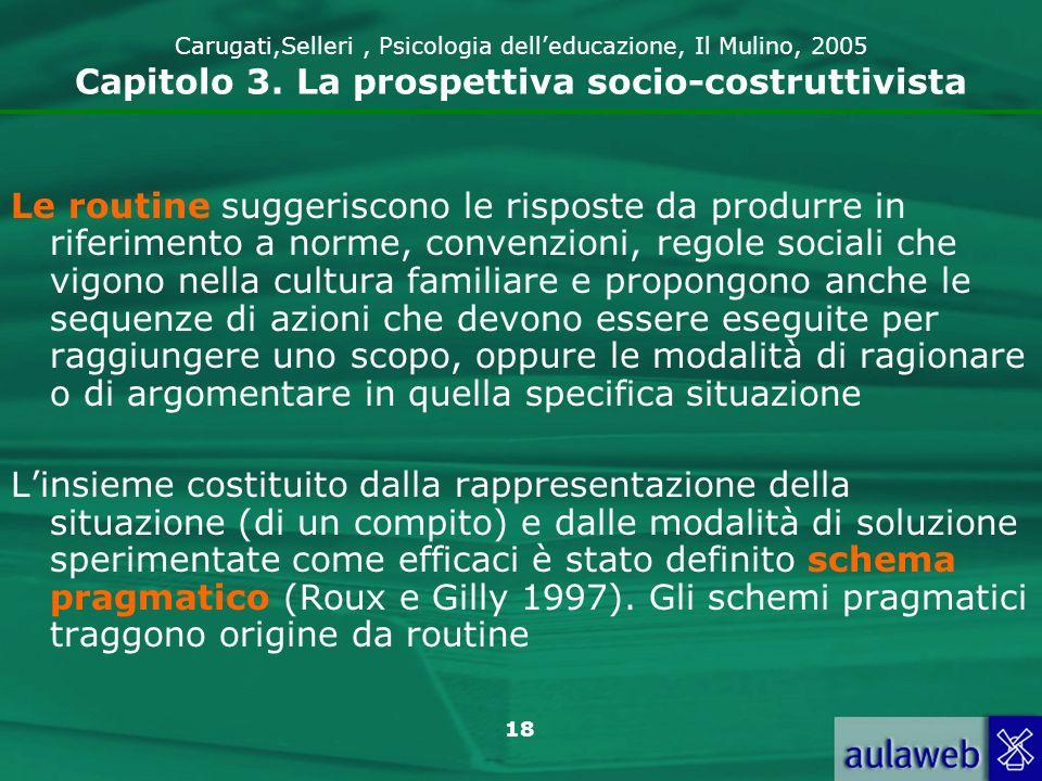 Carugati,Selleri , Psicologia dell'educazione, Il Mulino, 2005 Capitolo 3. La prospettiva socio-costruttivista