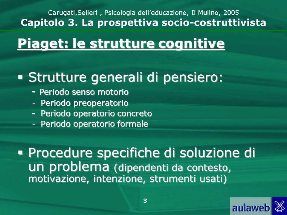 Piaget: le strutture cognitive Strutture generali di pensiero: