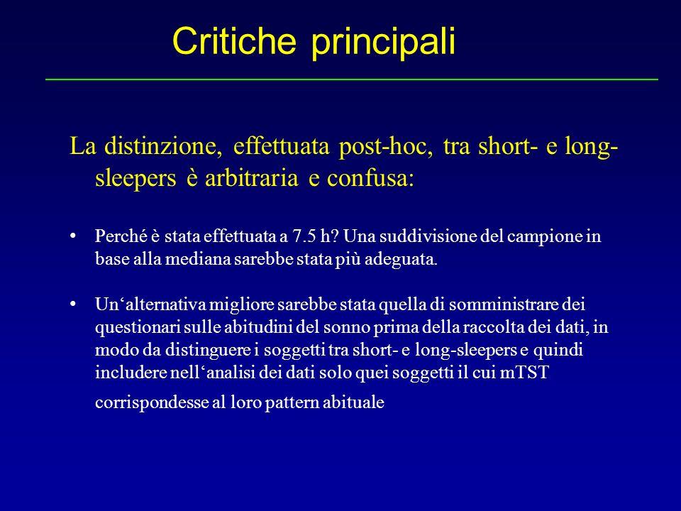 Critiche principali La distinzione, effettuata post-hoc, tra short- e long-sleepers è arbitraria e confusa: