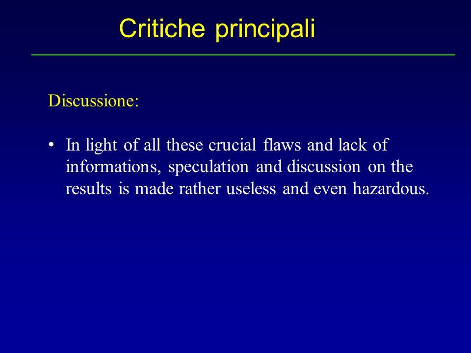 Critiche principali Discussione: