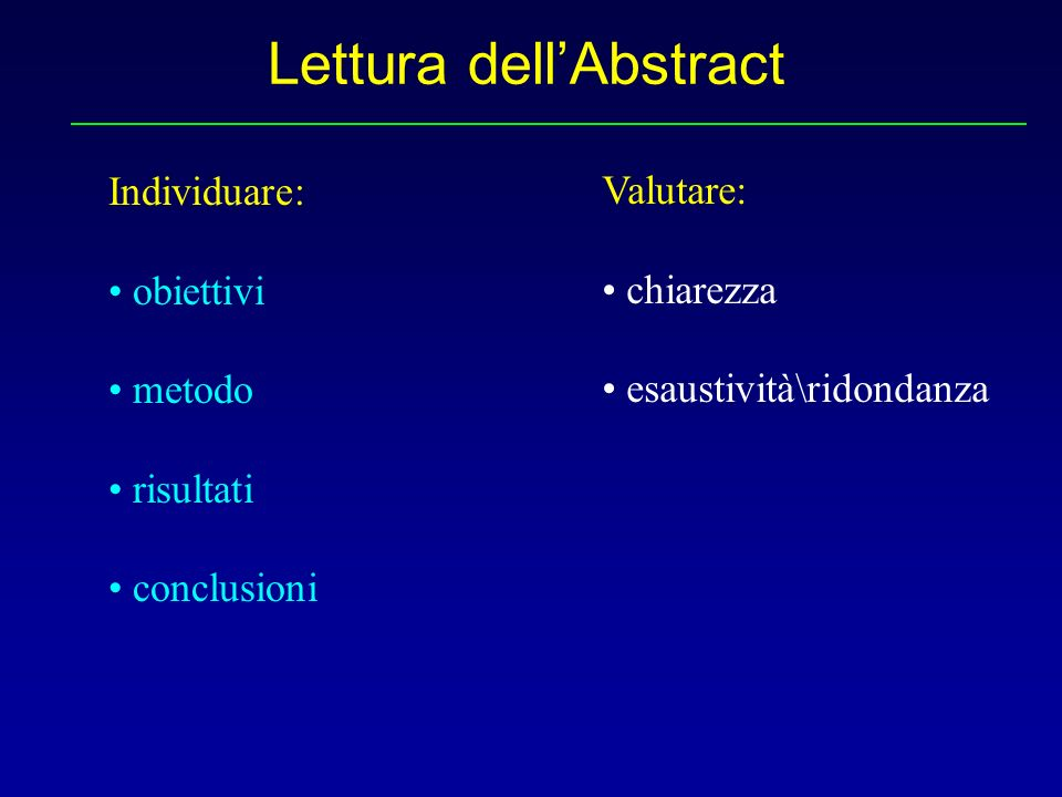 Lettura dell'Abstract