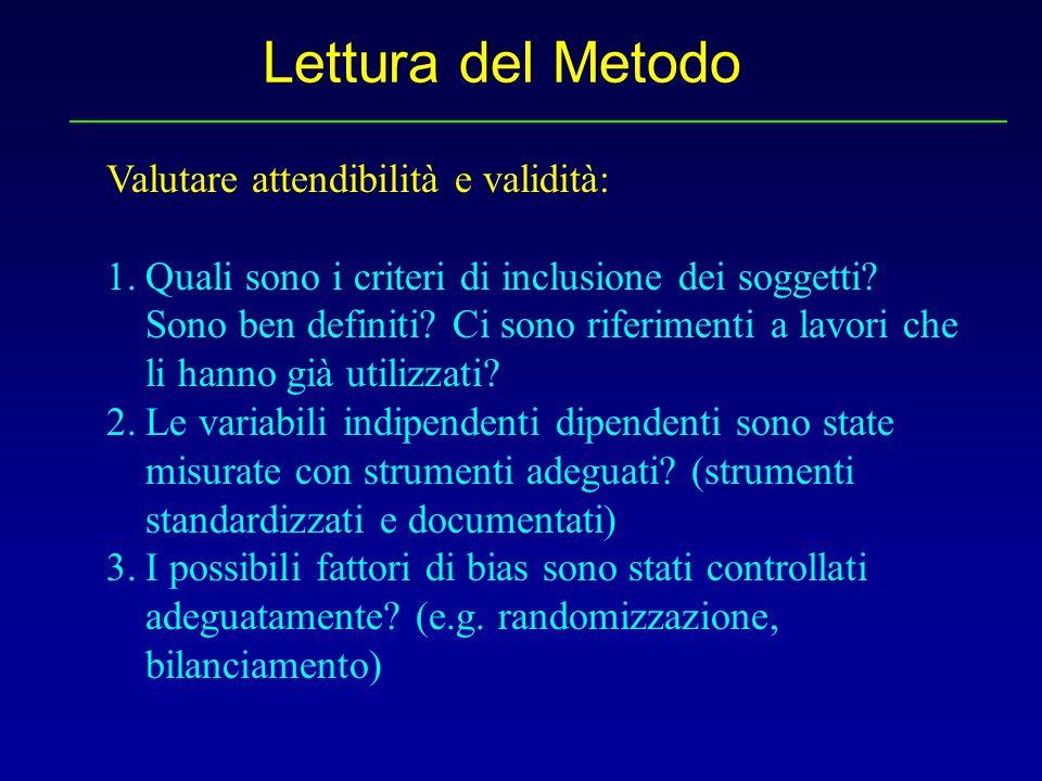 Lettura del Metodo Valutare attendibilità e validità: