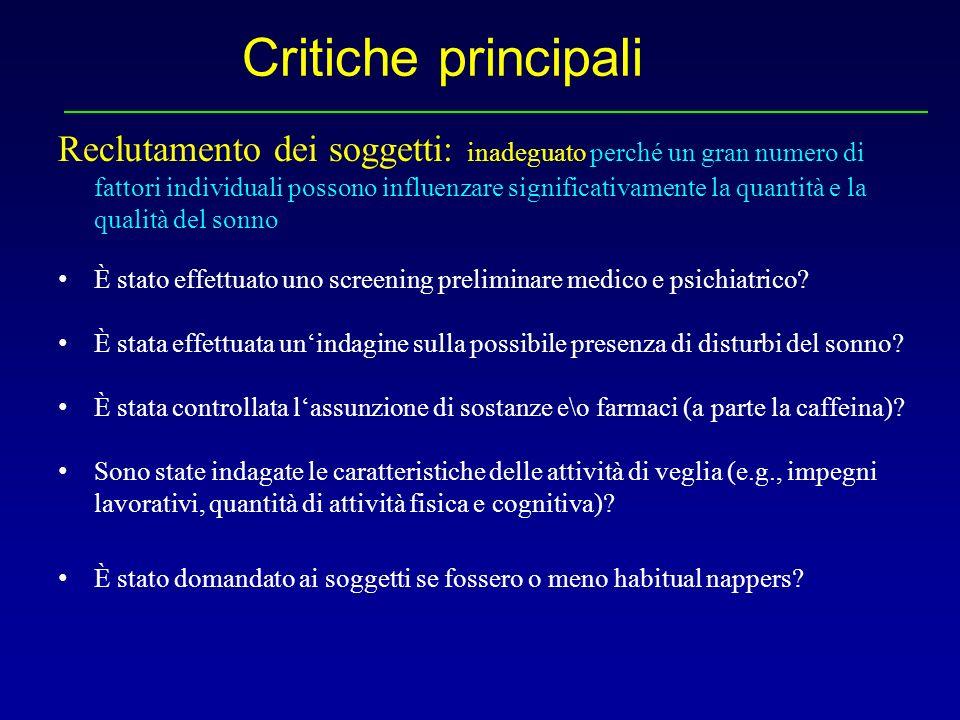 Critiche principali