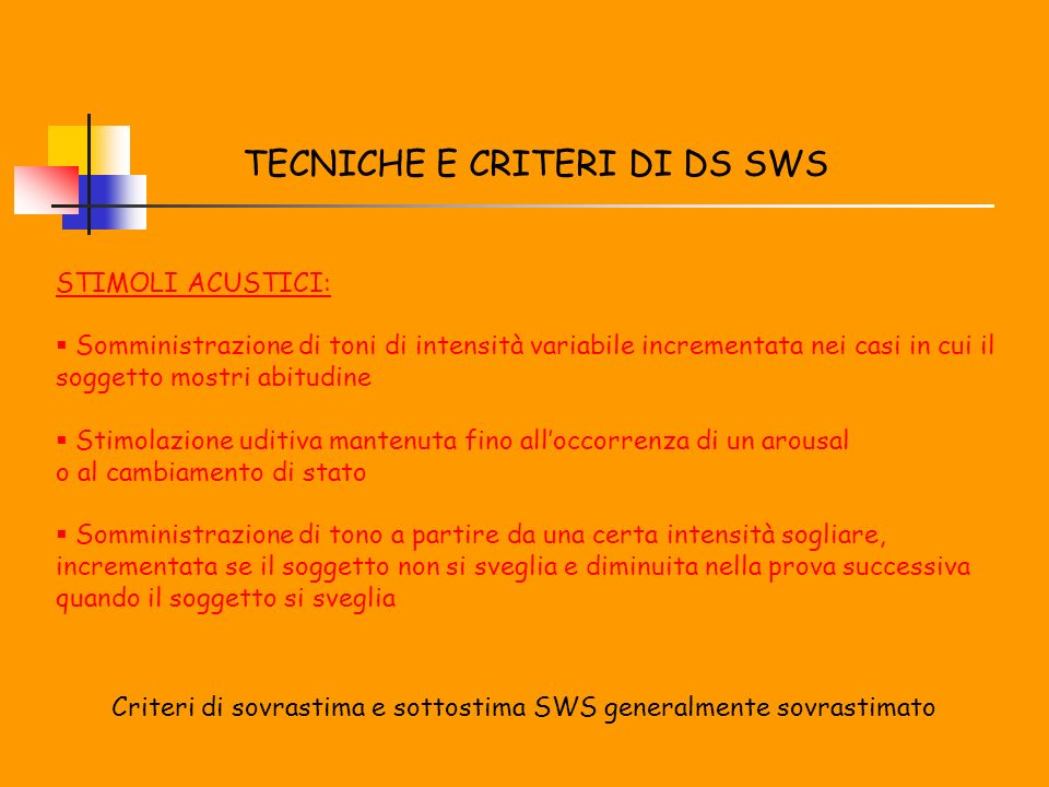 TECNICHE E CRITERI DI DS SWS