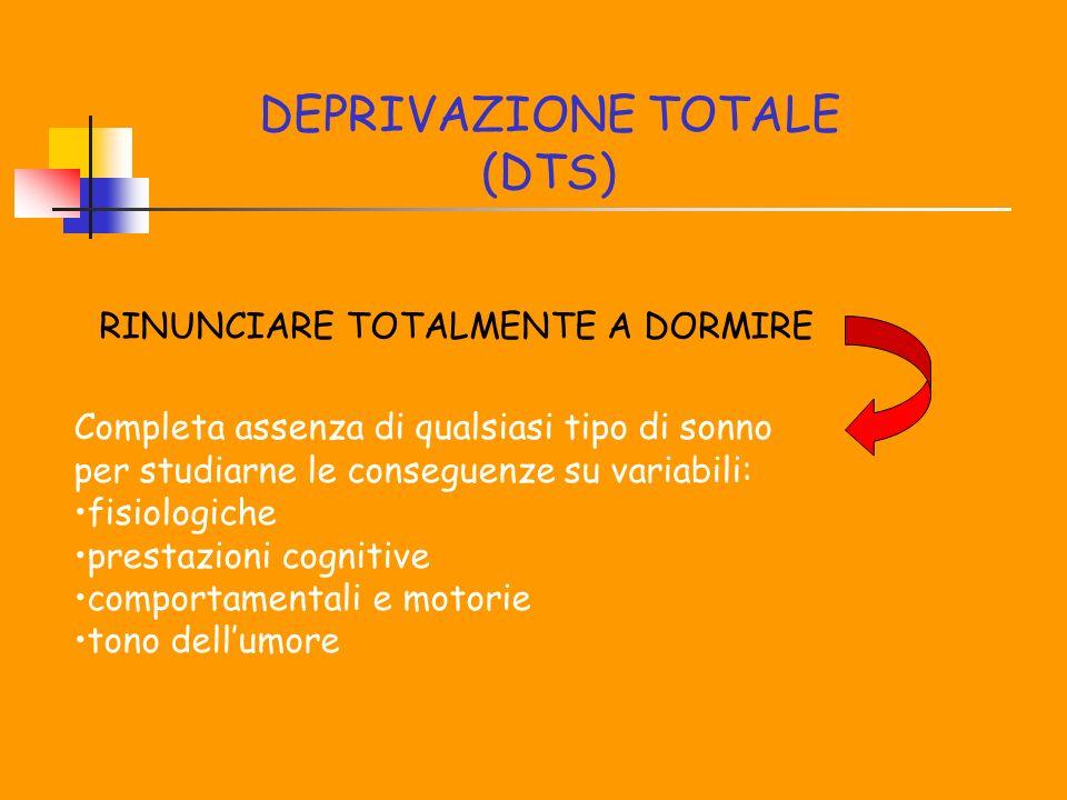 DEPRIVAZIONE TOTALE (DTS) RINUNCIARE TOTALMENTE A DORMIRE