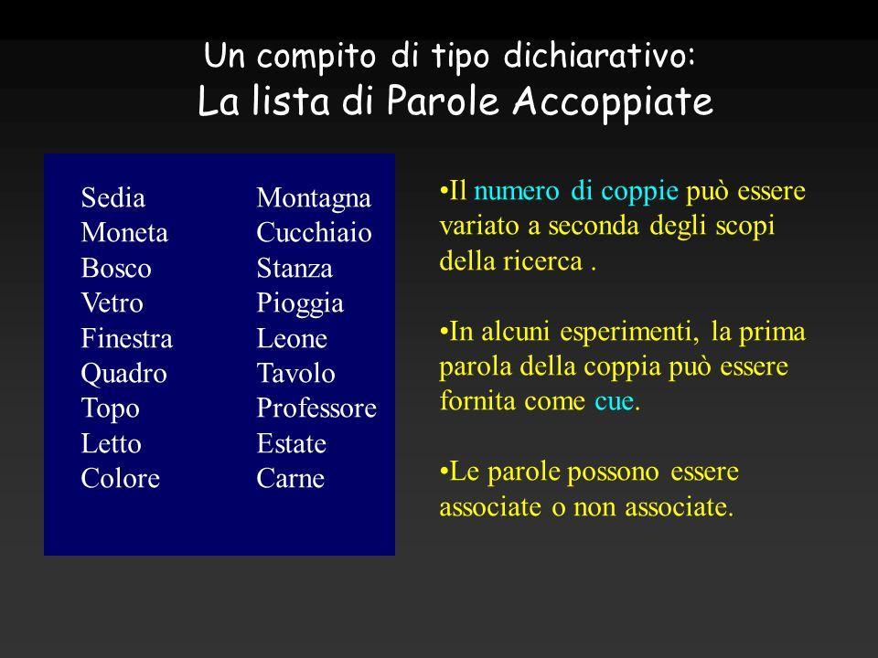 Un compito di tipo dichiarativo: La lista di Parole Accoppiate