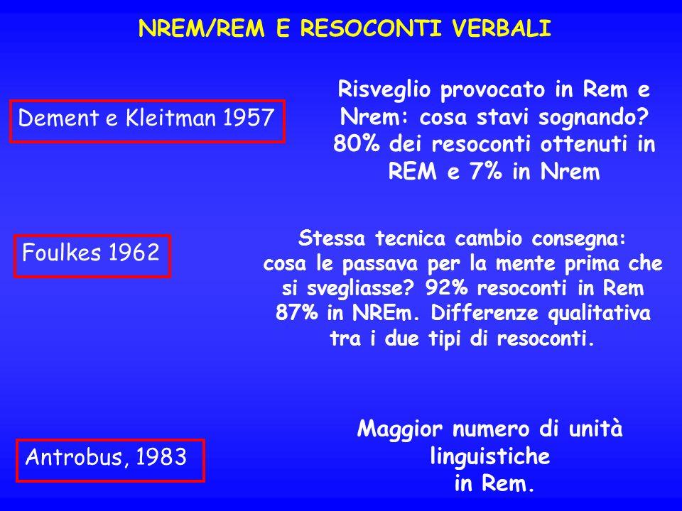 NREM/REM E RESOCONTI VERBALI