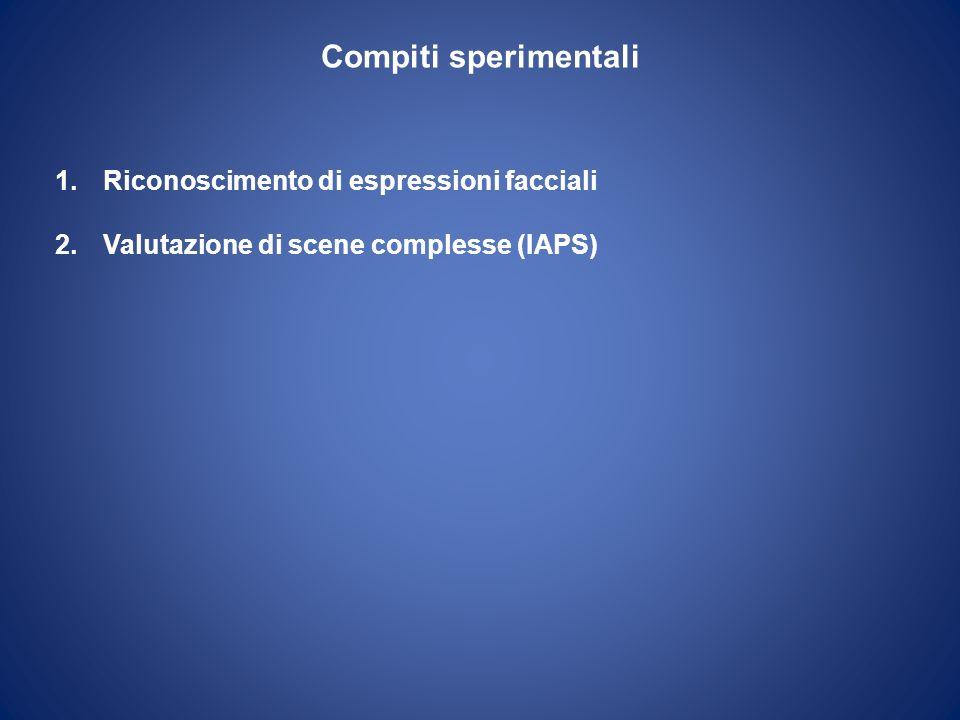 Compiti sperimentali Riconoscimento di espressioni facciali