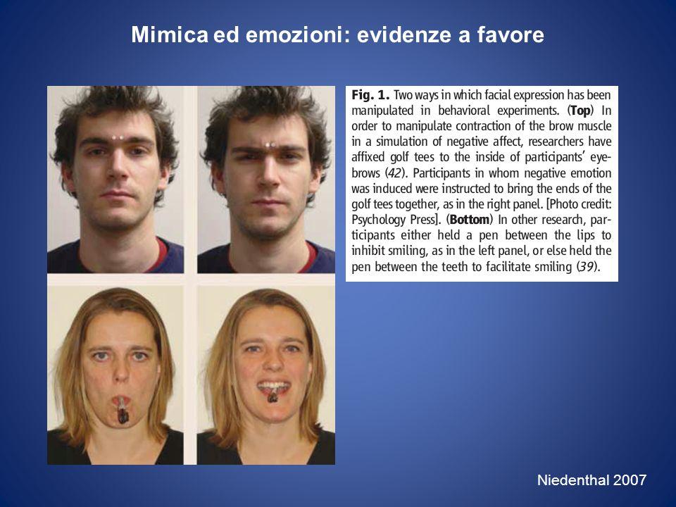 Mimica ed emozioni: evidenze a favore