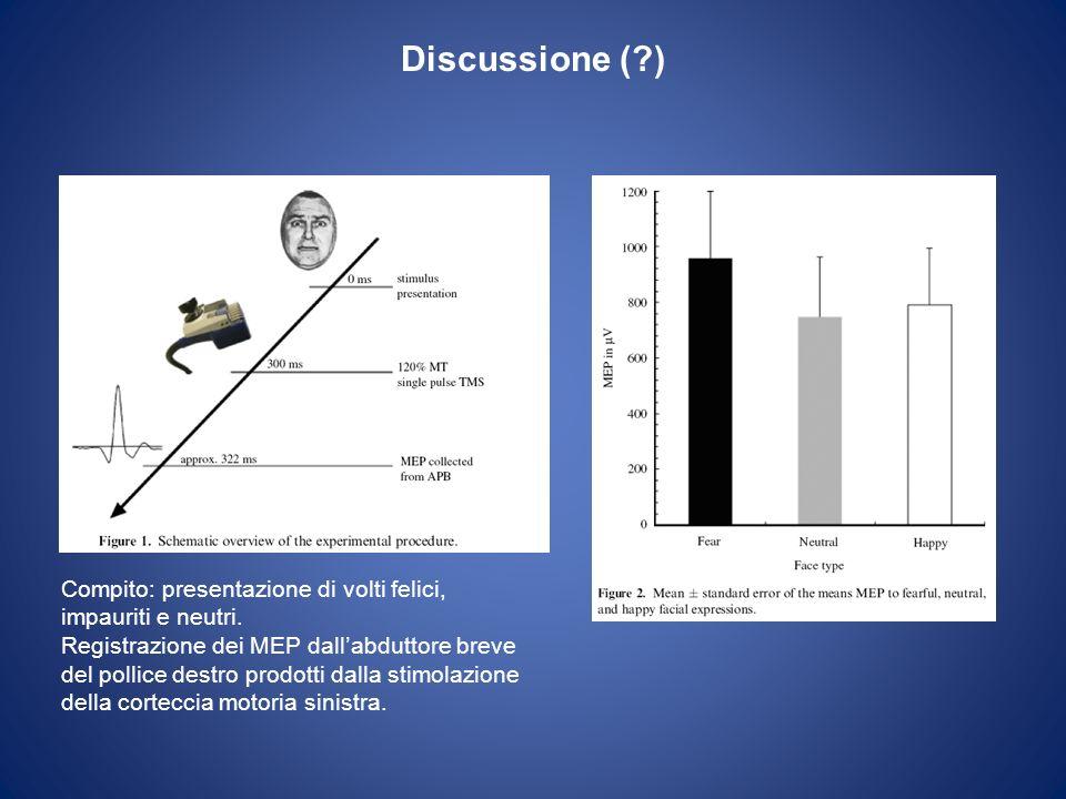 Discussione ( ) Compito: presentazione di volti felici, impauriti e neutri.