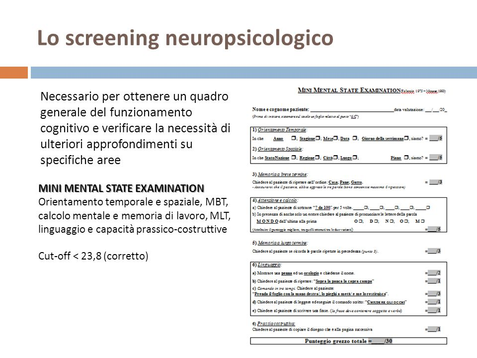 Lo screening neuropsicologico