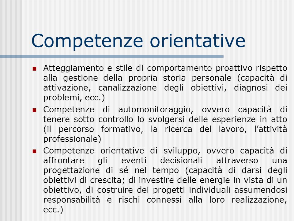 Competenze orientative